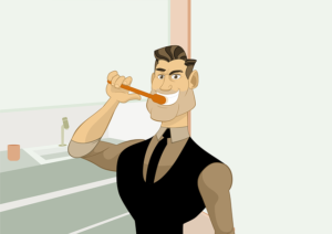 cartoon man brushing teeth
